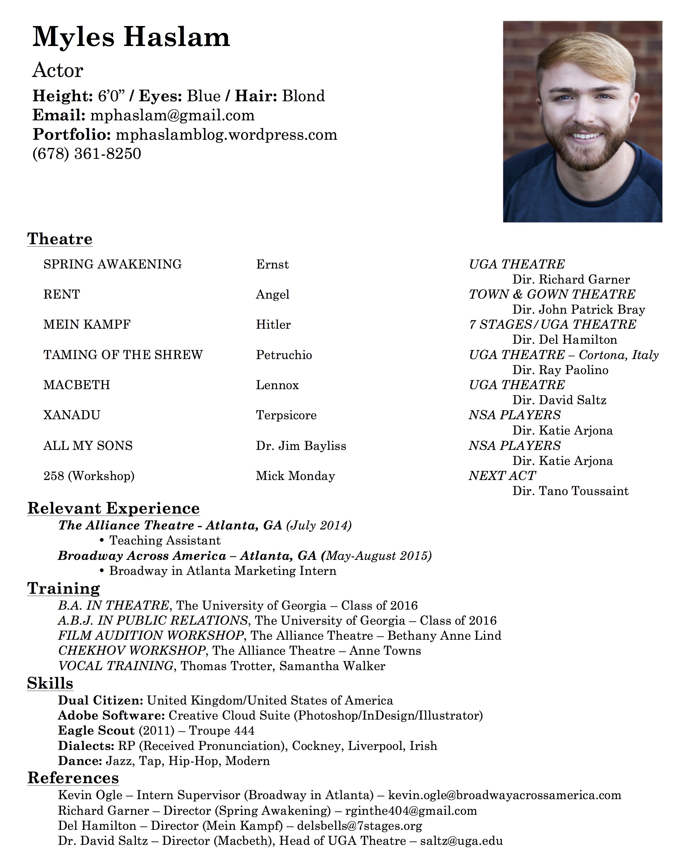 resume Headshot Resume actors resume samples voice acting cv sample template 6 resumes for beginners cashier resum